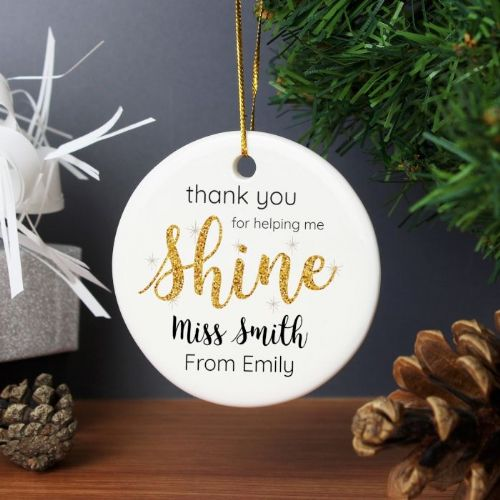 Personalised Shine Teacher Round Ceramic Decoration